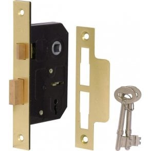 3 Lever Reversible Sash Lock 76mm (Brass Finish)