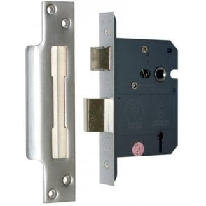 3 Lever Reversible Sash Lock 76mm (Satin Chrome Finish)