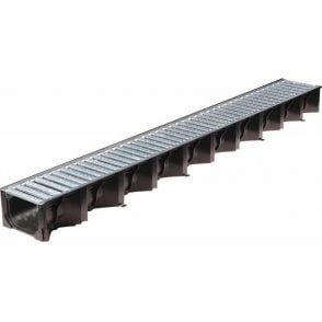 ACO HexDrain Plastic Channel with Galvanised Steel Grating. 1 metre