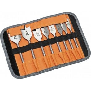 Bahco 9529S8 Wood Flat Drill Bit Set 8 Piece In Roll Case