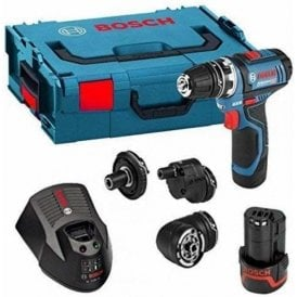 Bosch 12V Flexiclick 4-In-1 Drill c/w 2x 2Ah Batteries, Compact Charger & Mobility Solution