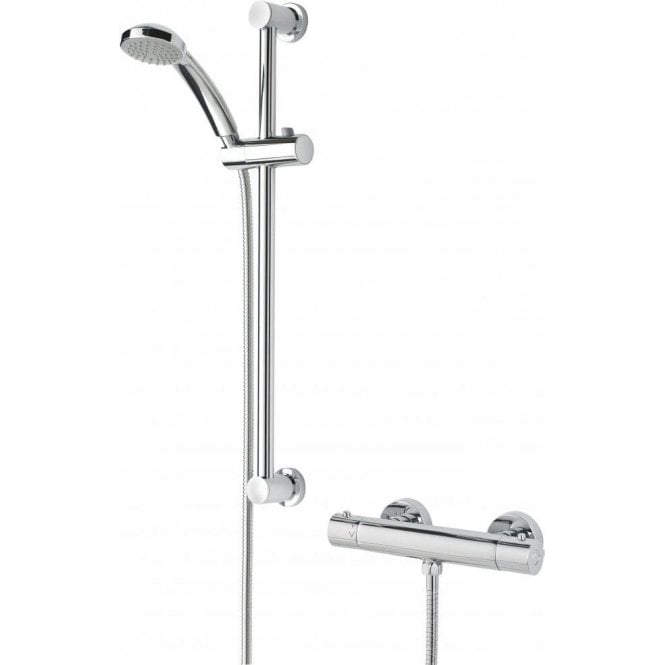 Bristan Frenzy Thermostatic Cool Touch Bar Shower Mixer complete with Adjustable Riser Kit