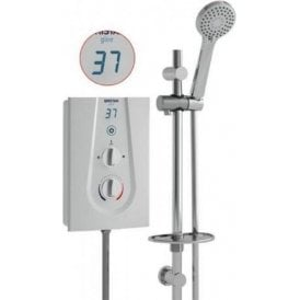 Bristan GLEE 3 10.5KW LCD DISPLAY Electric Shower WHITE + Riser Rail + Head