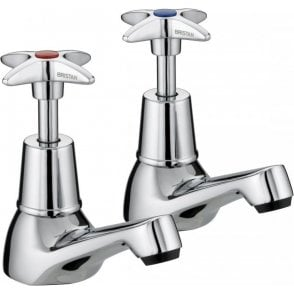 "Bristan Value Cross Top Basin Taps (Cp Vax 1/2"")"