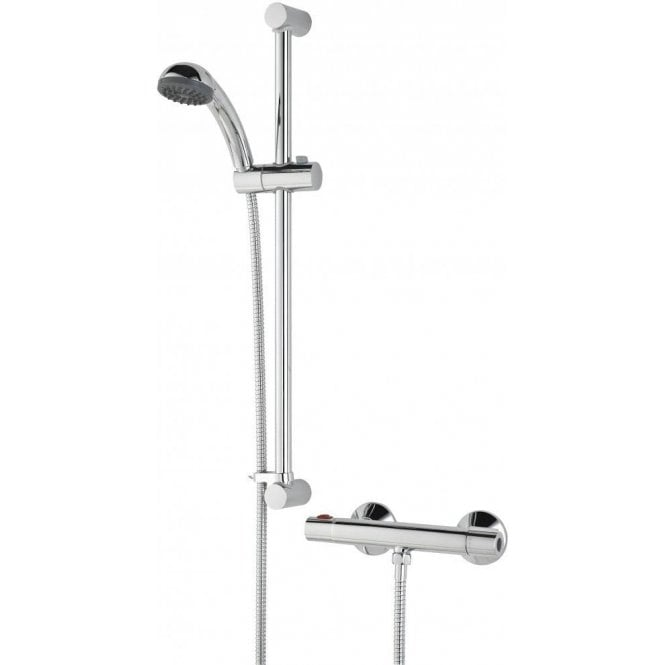 Bristan Zing Thermostatic Cool Touch Bar Shower Mixer complete with Adjustable Riser Kit