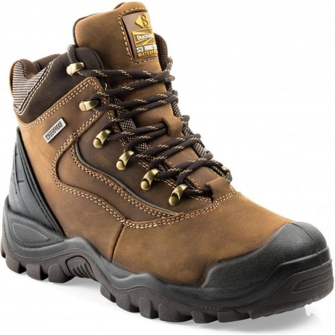 Buckler Waterproof Anti-Scuff Safety Work Boots Brown BSH002BR