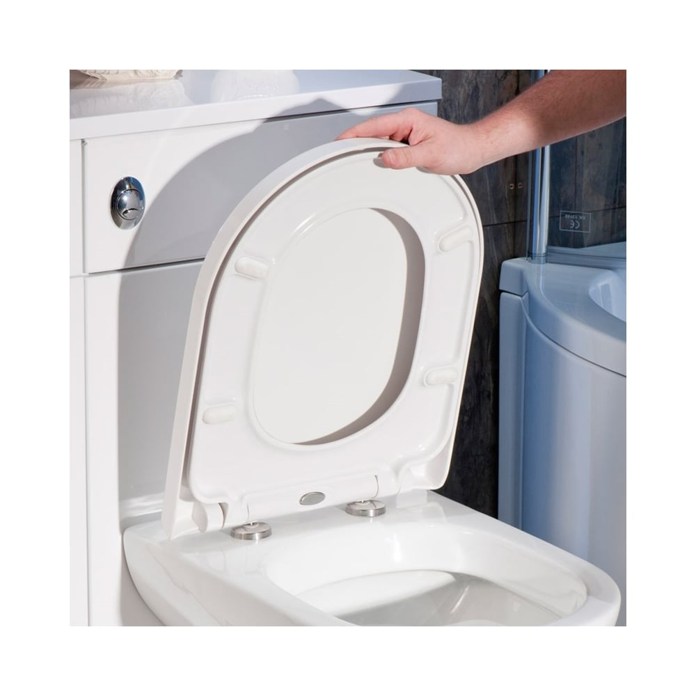 best slow close toilet seat.  D Shape Toilet Seat Heavy Duty Soft Close Top Fix White DTR010