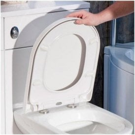 D' Shape Toilet Seat Heavy Duty Soft Close Top Fix White DTR010