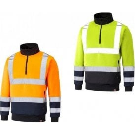 Dickies Two Tone Hi Vis Quarter Zip Sweatshirt SA22092