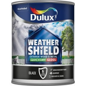 Dulux Weathershield Quick Dry Gloss Black - 750ml 5122153