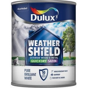 Dulux Weathershield Quick Satin Pure Brilliant White 750ml