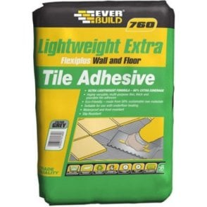 Everbuild 760 Lightweight Extra FlexiPlus Wall and Floor Tile Adhesive Grey 15KG