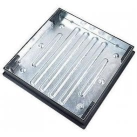 Galvanised Recessed Block Paving Manhole Cover & Frame 600x600x80mm 10 Tonne Gross Plated Weight