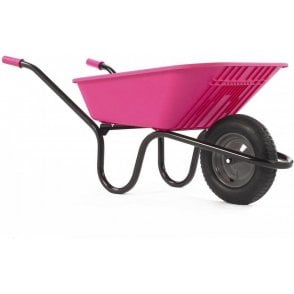 Haemmerlin 5000 GO Polypropylene Wheelbarrow with Pneumatic Tyre Pink 90L