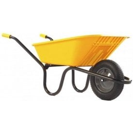 Haemmerlin 5000 GO Polypropylene Wheelbarrow with Pneumatic Tyre Yellow 90L