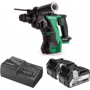 Hitachi DH18DBL/JP 18V Brushless SDS Plus Rotary Hammer 2x5Ah Li-Ion Batteries
