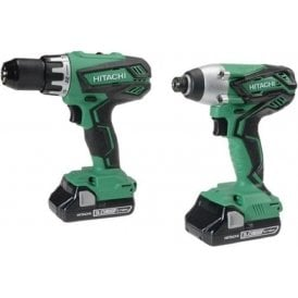 Hitachi KC18DGL(S) Twin Pack Drill Driver Set 18V with 2 x 3.0Ah Li-Ion Batteries & charger