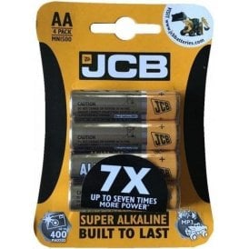 JCB Super Alkaline AA Batteries 4 Pack