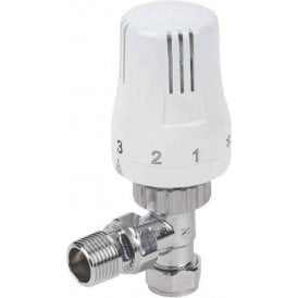 Kartell Thermostatic Radiator Valve Angled White & Chrome 15mm