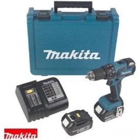 Makita DHP459SFE 18v Combi Drill, 2 x 3.0ah Batteries, DC18SD Charger & Carry Case