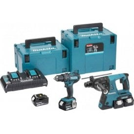 Makita DLX2137PMJ Twin 18v LXT 2 Piece MakPac Combo Kit