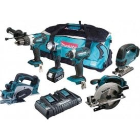 Makita DLX6067PT 18v 3x5.0Ah Li-ion LXT 6 Piece Combo Power Tool Kit in Bag