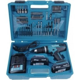Makita G Series 18V Combi Drill c/w 2 Batteries Charger and 74 Bit Set HP457DWE