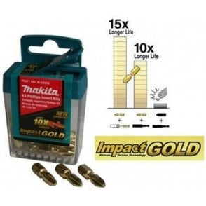 Makita Impact Gold Flip Top Box Screwdriver Bits PZ2 25mm B39534