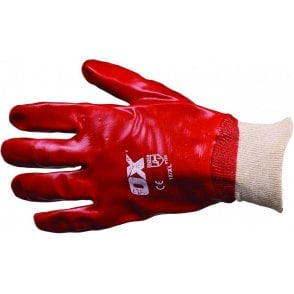 OX Red PVC Knit Wrist Gloves Size 10 XL