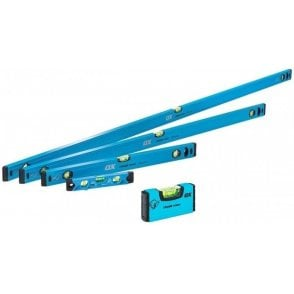 Ox Trade 5 Piece Level Set - 600mm 1200mm & 1800mm Trade Level and Trade 230mm Torpedo Level + Stubby