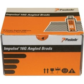 Paslode 300274 F16 Angled Brad Fuel Pack Electro Galvanised Finish 63mm