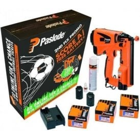 Paslode IM65 F16 Cordless Straight Lithium Brad Nail Gun 2nd Fix 923562 Kit With x2 Batteries and Free Brads