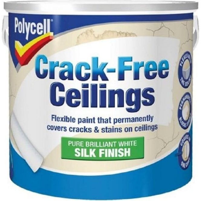 Polycell Crack Free Ceilings Smooth Silk Paint 2.5 Litre Pure Brilliant White
