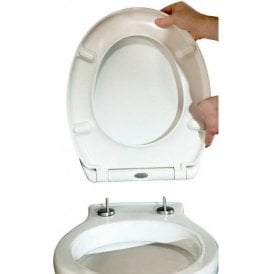 Universal Heavy Duty Toilet Seat Top Fix Soft Close White STR010