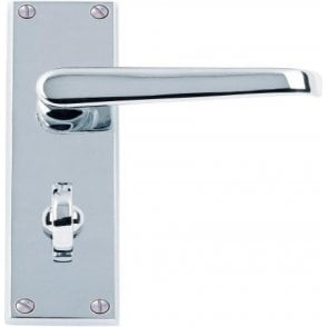 Victorian Lever Bathroom Door Handles Polished Chrome J34009 Pair