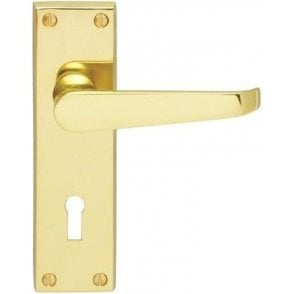 Victorian Lever Lock Door Handles Polished Brass Finish J33510 (Pair)